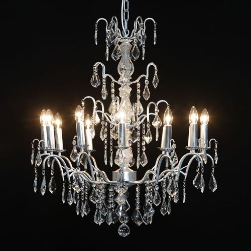 Antique French Cut Glass Silver Chandelier 12 arm